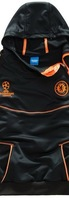 UEFA Champions League Chelsea black/orange football coat & trousers tracksuit,soccer hooded sweater & pants,sportswear uniform