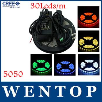 5M 5050 150Leds LED Strip light White Warm Blue Red Green Yellow and 12V 3A Power Supply EU US UA UK Free shipping