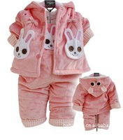1sets baby clothing 2012 autumn and winter girl baby clothes 2pcs(coat with hat+ child bib pants set) free shipping