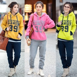 free shipping good qulaity women's thicken Fleece sport leisure hoodies suits out wear winter warm coat Sweatshirts promotion(China (Mainland))