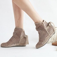 2014  new fashion summer women shoes mesh  ankle Boots inside heel woman pumps and knitting boots hollow out boots plus size
