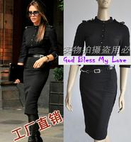Free Shipping Victoria Beckham Half Sleeve Zipper Dress With Belt Plus Size