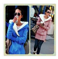 2014 Korea Women Hoodies Coat Warm Zip Up Outerwear Sweatshirts 4 Colors Black Gray Blue Pink