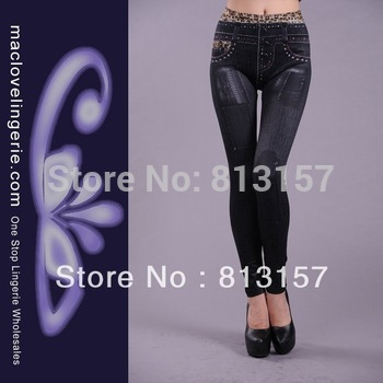 ML7537 Free Shipping 2013 New Arrival Fashion Sexy Slim Stretch Pants Ladies Black Blue Summer Pantyhose Jeans For Women