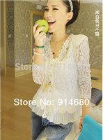 Free shipping!Fall 2014 Skinny Shoulder Pad Precious Mosaic Lace Shirt Cardigan Sunscreen Shirt Air-Conditioning