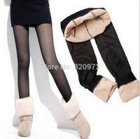 free shipping 2014 promotion new plus size warm women see through leggings black women warm pants competitive price