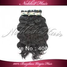 """Top Quality Brazilian Virgin Hair Natural Wavy Machine Made Weft 10""""-28"""" natural color Natural Wave 3pcs/lot Free Shipping(China (Mainland))"""