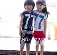 Free delivery children suit short-sleeve shirt sport suits summer print 77