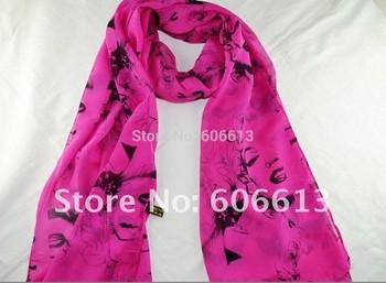 Hot sale 4colors Lady's fashion chiffon scarves trendy design Marilyn Monroe women scarf elegant Wraps Free shipping 28pcs/lot