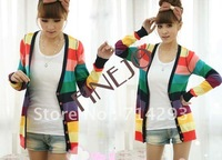 Beauty free shipping New Women Korean Fashion Colorful Stripes Deep V-neck Knit Cardigan Sweater 6163