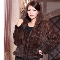 100% knitted European  Mink fur coat with hood/ mink jacket / mink clothes plus size clothing*ems free shipping su-1278