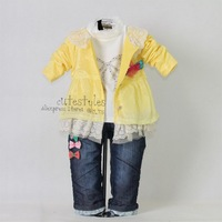 2012 New Autumn Kids Clothing Set 3PCS: Hot Yellow Dot Girl Jacket And T Shirt And Jeans Pants With Bow Baby Garment