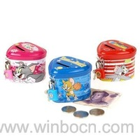 Free shipping,Tom and Jerry Heart shape coin bank, kids money box with a lock and key,portable and durable for kids