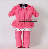 2012 New Christmas Baby Clothing Set 3PCS: Rose Red Flower Girls Coat + T Shirt+Trousers With Diamond Children's Clothing