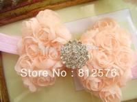 """Baby Headband 3.6"""" Baby girl's Chiffon Rose Bow With 22mm shiny diamond Center 20pcs/lot Headbands"""