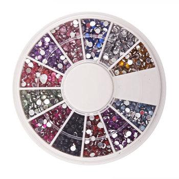 New 1.5mm 1800 Nail Art Rhinestone Glitter Tip Mix Gems #1901