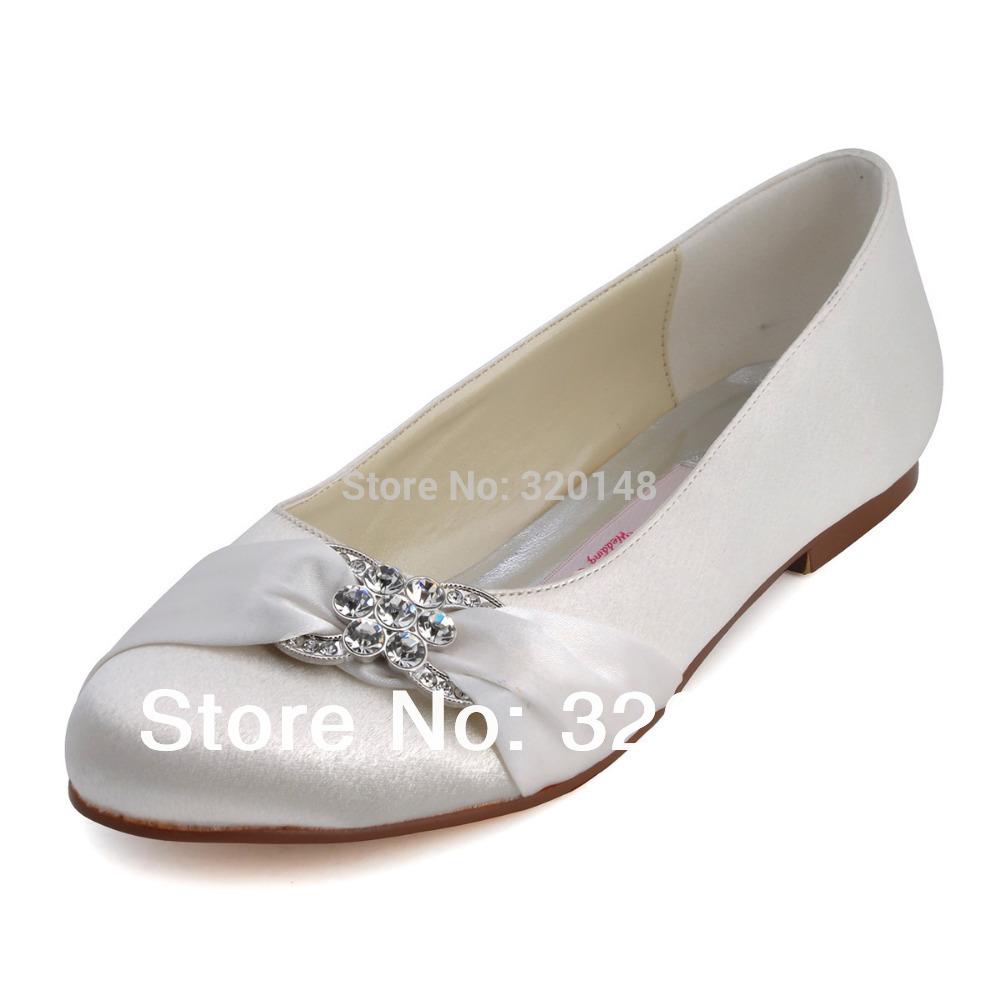 Fashion Wedding Flats EP2006 Ivory Round Toe 1 Rhinestone Bridal Flats Satin Bow Woman's Shoes(China (Mainland))