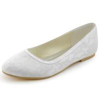 Elegant Women's Flats EP11104 White Ivory Round Toe Lace Wedding Bridal Flat Shoes