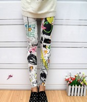 Fashion Ladies Ink Flower Print Women Rock Punk Funky Sexy Leggings[240210]