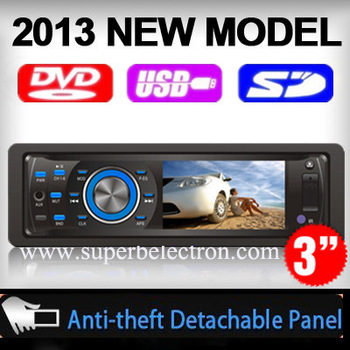universal 3 inch screen 1 one din car CD MP3 DVD player 50WX4 with Radio audio stereo video,FM/AM,USB /SD,TV(optional) JVC  ford