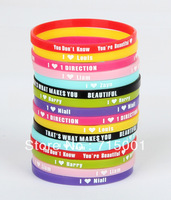 120pcs lot UK Music Super Star 1D One Direction Directioner 5mm Silicone Bracelet Wristbands Jewelry Hot Gift free shipping