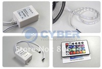 Promotion 5M RGB 3528 Flexible Waterproof 300 Led Strip Light +24 Keys IR Remote + EU Plug Power Adapter B_004 2727 2650