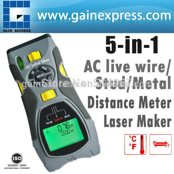 Portable Multifunction 5in1 Digital Distance Meter Stud/Joists Metal Wire Detector Laser Marker Tool 0.6~16m (2 ~ 53 inch) Range(Hong Kong)