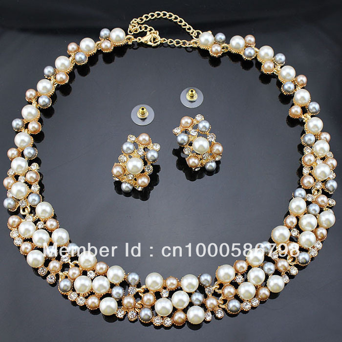 PN12365 Classic Imitation Pearl Jewelry Sets Gold Plated Clear Crystal High Quality 3 Color Pearls Party Gifts Free Shipping(China (Mainland))