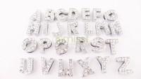 wholesale high quality 130pcs/lot  5sets Letter A-Z Slider Rhinestone crystal Beads Fit 10mm Belt Wrist Strap Bracelets
