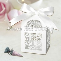 "Free Shipping 60PCS 12pcs/set 2""*2""*3"" Laser Cut  Birdcage Wedding Favor Box in Pearlescent Paper White with White Ribbon"