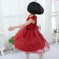 2014 Real Sale Solid Formal Cotton Vestidos Infantis Free Shipping Elegant And Embroidery Fashion Little Girls Dress Flower