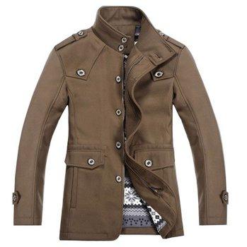 New winter men pea coat men's wool coat in long section of the stand-up collar paul jones jacket BWLM004