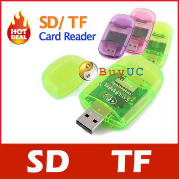 New USB 2.0 SD / Micro SD TF T-Flash Memory Card Reader