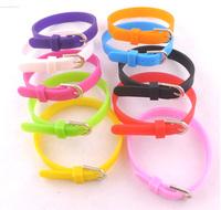 Free Shipping 100pcs/lot Beautiful Multi-colored  Silicone Wristbands Buckle Belt Bracelets Unisex Bangle DIY Jewelry Findings