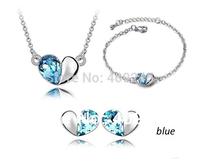 Heart shaped silver jewelry set,Tz-0321017 g
