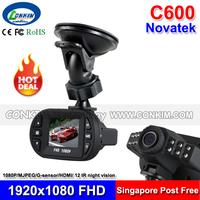 "The Smallest Mini Car Dash Camera C600 DVR Car Black Box 1080P Full HD 1.5"" LCD+120 degree wide angle G-sensor Motion Detect"