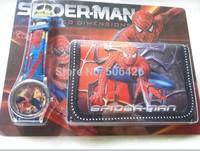 Free shipping!10pcs/lot  Fashion Watch Set Cartoon Children Wristwatch Spiderman Gift Watch Set (Watch +Wallet)  Wholesale