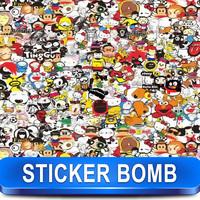 Sticker Bomb Sheet Vinyl Film Glossy Finish Cute Comic Print Design X19 Size: 1.5 x 30 Meter