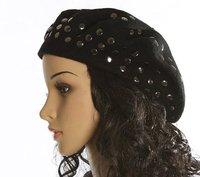 Winter Beret Wool Women Fashion Knitted Black Caps Punk Clinch Black Rivet Wholesale Female Hats Free Shipping Casual Berets