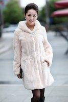 2014 Genuine Natural Rex Rabbit Fur Coat Jacket with Hoody Winter Women Fur Outerwear Coats Lady Trench Overcoat VK0342