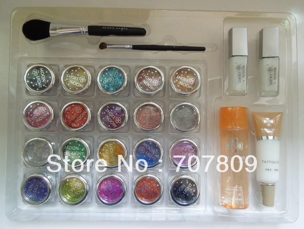 Free shipping 20 pcs Glitter Tattoos Powder/Brushes / Glue / Stencils for Temporary Tattoo/ body painting Kit(China (Mainland))