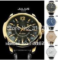 Original Design Watches Men Luxury Brand JULIUS Quartz Watch Business Classic Calendar Wristwatches Leather Strap Watch JAH-007
