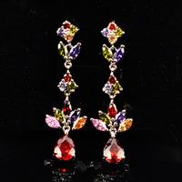 A88301 Fashion color/white/black  zircon 18kt white gold filled earrings free gift Zircon earrings