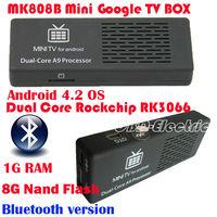 MK808B MK808II Android 4.2 Dual-core A9 RK3066 with Bluetooth Mini PC TV Box/Dongle UG802 III IPTV 1G+8G Full HD for HDTV