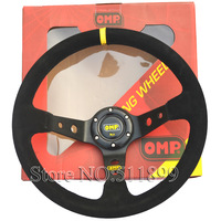 Racing Car Steering Wheel Suede OMP Steering Wheel With Red Box And Black Stitch