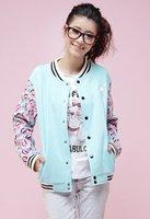 moleton college baseball long sleeves blue moletom feminino cardigan Sweatshirt Varsity Jackets emoji outfit sudaderas mujer
