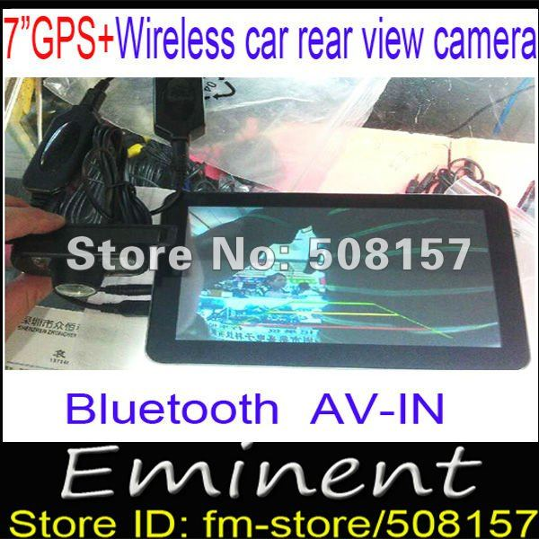 Freeshipping 7'' HD Car Portable GPS Navigator Touch screen BT AV-in FM Transmitter CE 6.0 4GB Free world maps + Reverse Camera(China (Mainland))