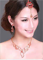 Free Shipping Fashion Red Bridal Jewelry Set Vintage Wedding Frontlet Headband Gold Plated Wedding Costume Necklace Set