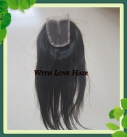 Free Shipping Virgin Malaysian Human Hair Straight Natural Color Middle Part Lace Closure 4*4 inch Slightly Bleached Knots