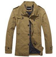 New purified cotton jacket lapel washed male solid color autumn winter coat XXL khaki black garment for men exquisite work CM010